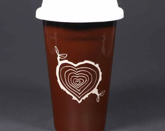 Tree Stump Heart Travel Mug - wood grain tree rings w/ lid