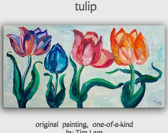 Original abstract flower art abstract painting muti-clolors tulips on gallery wrap canvas Ready to hang by tim Lam 48x24