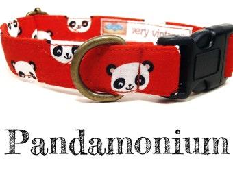 """Red White Black Panda Dog Collar - Asian Dog Collar - Organic Cotton - Antique Brass Hardware - """"Pandamonium"""""""