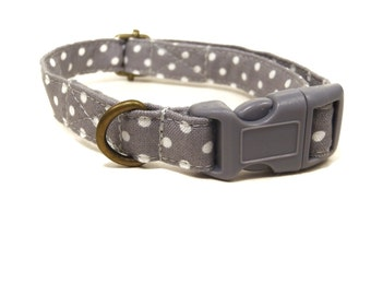 The Alistair - Light Gray White Polka Dot Organic Cotton CAT Collar Breakaway Safety - All Antique Brass Hardware
