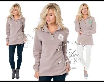 Naomi 1/4 Snap Sweatshirt, Hi/Lo Sweaters, Tunics, Womens Pullover, Leggings Tunic, Figure Flattering, Destash, Embroidery Blanks