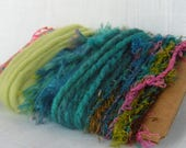 Silk Sari Yarn Art Yarn Bundle Scraps Green Teal Spring 1508