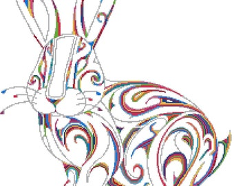Tribal rabbit No1 - modern counted cross stitch kit