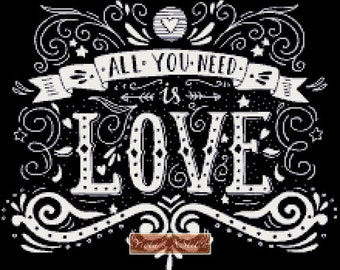 All you need is love -chalkboard words counted cross stitch kit
