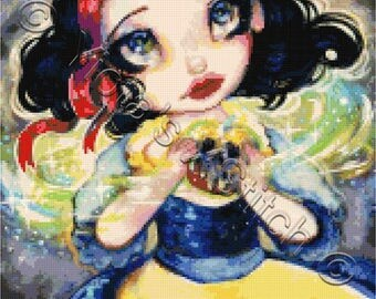 The wishing apple - Snow White - girl cross stitch kit, Fairy tale cross stitch