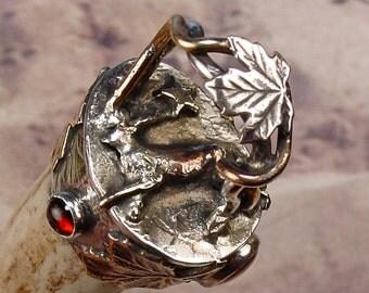 AUTUMN LEAVES Antler Talisman - Necklace Pendant Sterling Silver, Carnelian, Citrine, Garnet Shed Deer Horn