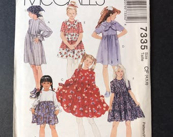 McCall's 7335 Pattern - Girls' Dress and Scarf to Sew size 4,5,6
