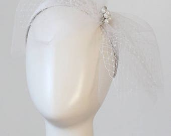 Bridal Veil Wedding Accessories Veil Hair Jewelry Bow Veil Headpiece Veil Embellished Headband