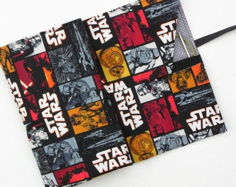 circular knitting needle case - double pointed knitting needle case - organizer -star wars print