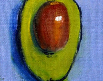 Avocado, Small Oil Painting, Original 4x6, Canvas, Kitchen Wall Decor, Green Blue, Food Art, Tiny Little, Minimalist Design, Southwestern