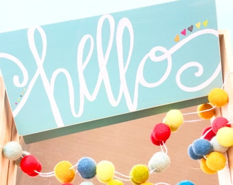 Hello sign. Welcome sign. Hi. hand lettered sign. handlettering calligraphy. Entry way sign. Front door front porch art.