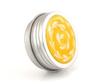 Small Light Yellow and White Treasure Box - Citrine and White Spiral Box - Small Jewelry Box - Trinket Box - Pill Box - Handmade - #70