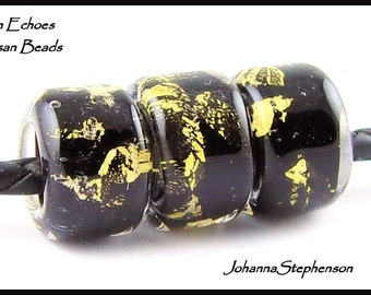 Big Hole Black and Gold Encased Lampwork Bead Set SRA