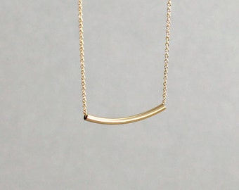 Curved Gold Bar Necklace Sliding Bar Necklace 14K Gold Fill Yellow Gold Rose Gold Layering Necklace Hammock Necklace Gold Tube Necklace