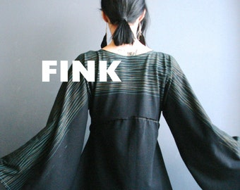 High Hawk Season - iheartfink Handmade Hand Printed Womens Kimono Bell Sleeves Wearable Art Black Jersey Top