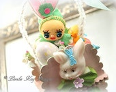 Spring Easter Ornament Decoration Retro Inspired Bunny Girl Lorelie Kay Original
