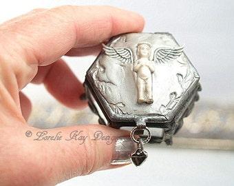 Tiny Angel Glass Box Rhinestone Assemblage Frozen Charlotte Ring Box Lorelie Kay Original