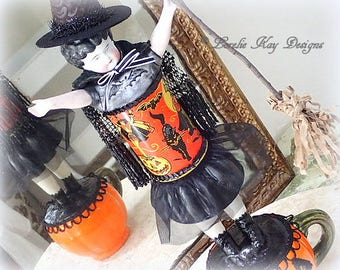 Witchy Woman Halloween Art Doll Sculpture Cute Witch Assemblage Art Doll One-of-a-Kind Halloween Decoration