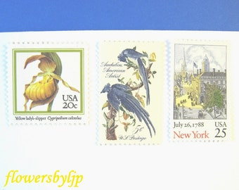 New York City Floral Art Postage, Vintage NYC Scene - Yellow Orchid - Audubon Painting Blue Jay Stamps, Mail 10 Invitations - Cards 1 oz 49c