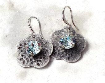 Swarovski elements antique silver plated filigree  flower design drop earrings light azore crystal fancy stone
