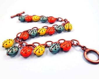 Colorful Charm Bracelet, Ladybug Beaded Bracelet, Copper Chain and Glass Beaded Bracelet, FREE Shipping U.S.