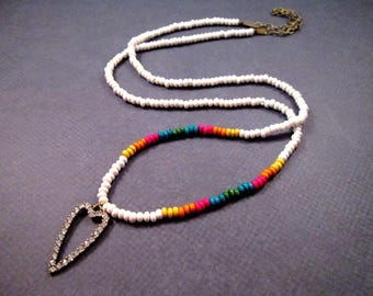 Rhinestone Heart Necklace, Rainbow and White Wood Beaded Necklace, Brass Pendant Necklace, FREE Shipping U.S.