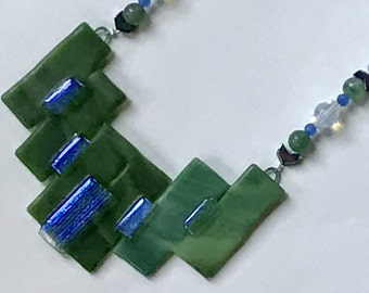 Striking Green and Blue Focal With Opal Sea Glass & Amazonite Beads