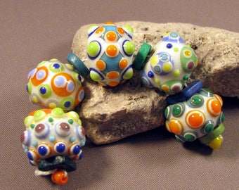 Lampwork Glass Beads Handmade by Mona Sullivan -Colored Dots on Ivory III-Precision Layered dots Colorful Lampwork by Monaslampwork Bohemian