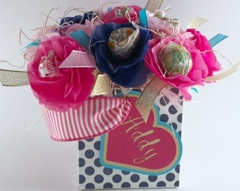 Valentine's Day Gift (Personalized) or Birthday Lollipop Candy Flower Arrangement Navy Blue, Robin's Blue, Pink, Gold, Silver