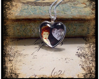 I Love Lucy pendant, altered art pendants, gift boxed, I Love Lucy...only 5 made of each design, Lucille Ball, heart pendants, hearts