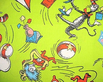 """Dr Seuss Children Cotton Fabric on Lime Green 44"""" x 30"""" SALE Cat in the Hat Thing 1 Thing 2 HTF"""