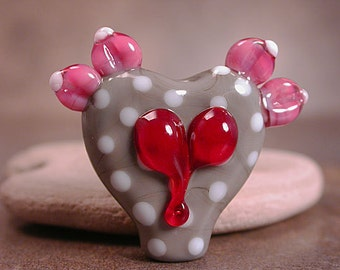 Handmade Glass Heart Focal Bead with Pink Wings and Polka Dots Divine Spark Designs SRA