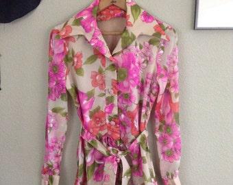 Vintage 70s sheer pink flower power shirt ~ tie waist ~ bohemian ~ hippie ~ psychedelic