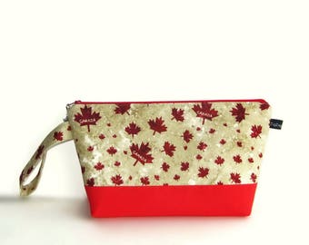 Wedge Bag, Small-Project Knitting Bag, Maple Leaves, Canada, O Canada