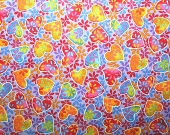 Hearts, Cotton, Sewing, Quilting, Quilting Fabric, Sewing Fabric, Fabric, Colorful Hearts, Hoffman California Fabric, By the Yard