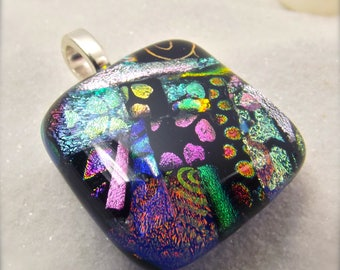 Modern dichroic jewelry, Fused dichroic glass, rainbow pendant, fused glass art, artisan jewelry, handmade, Hana Sakura, rainbow necklace