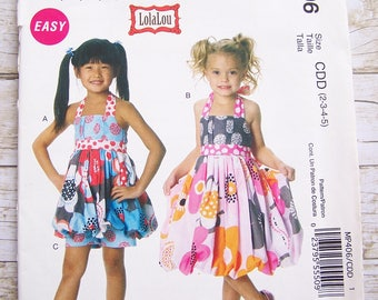 McCalls MP496 Girls halter dress top and pants size 2-3-4-5