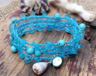 Wrap Bracelet, Turquoise Blue Bracelet, Beach Jewelry, Summer Bracelet, Crocheted Wrap Bracelet, Cultured Sea Glass, Made in Hawaii