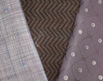 Vintage Japanese Kimono Fabric Bundle 3 Sleeve Mix Crafting - Soft Purple