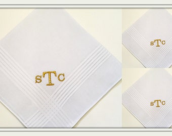Set of 3 (three) PERSONALIZED EMBROIDERED Mens' Handkerchiefs with  Metallic Monogram
