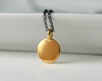 Gold Circle Pendant Necklace, Mixed Metal Jewelry, Minimal Jewelry, Modern Necklace, Round Coin Charm Necklace, Jewelry Gift Women