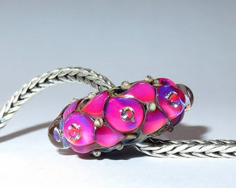Luccicare Lampwork Bead - Extravagant Diamonds - FOCAL -  Lined with Brass