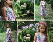 Leilani Sun Dress with Overlay Flounce Ruffle Neckline High Low Hem Toddlers Girls Tweens INSTANT DOWNLOAD PDF Sewing Pattern in Sizes 1-12