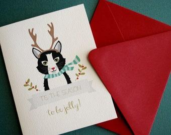 Antlers , Cat Christmas greeting set of 12