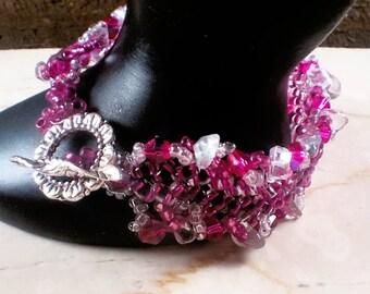 beaded crystal beaded cuff bracelet lacy herringbone hot pink