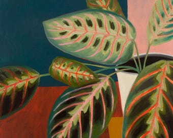 Botanical Painting Prayer Plant Still Life Framed Oil on Canvas