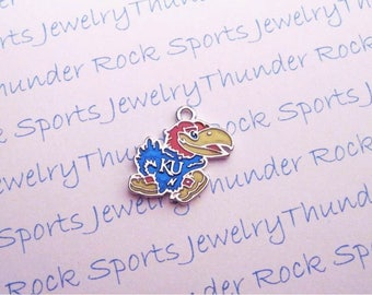 3 KANSAS JAYHAWKS CHARMS Antique Silver Plated with blue red yellow enamel University logo College Pendants