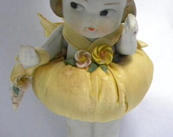 SALE Beach Baby Doll Porcelain Bisque Vintage Japan Porcelain Bisque Frozen Charlotte Sea Shell in hand Silk Clothes 1920s era