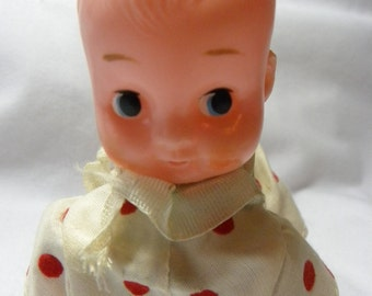 Vintage 1940s Wind Up Crawling Baby Doll Toy that Works