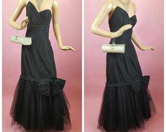 1950s Mermaid Dress Gown Fred Perlberg Dance Originals Black Tulle Bow Vintage